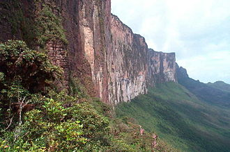 Mount Roraima - The steep rock wall of Monte Roraima.