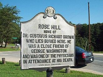 Rose Hill (Port Tobacco, Maryland) - Image: Rose Hill Marker 2 Sept 09