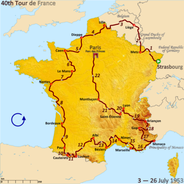 Route of the 1953 Tour de France Followed counterclockwise, starting in Strasbourg and finishing in Paris
