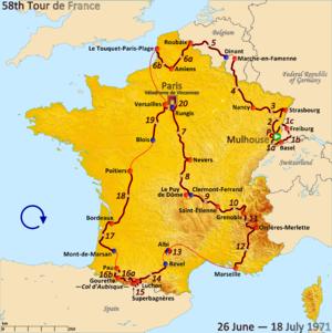 1971 Tour de France - Route of the 1971 Tour de France