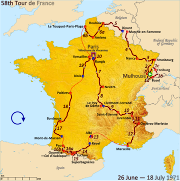 Route of the 1971 Tour de France