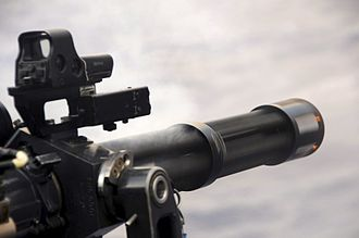 Active Royal Navy weapon systems - A minigun aboard HMS ''Monmouth''