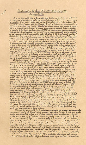 Facsimile - Facsimile of Edgar Allan Poe's original manuscript for The Murders in the Rue Morgue