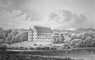 Rugaard - Rugaard c. 1860 from the east across Nørresø, direction towards Kattegat