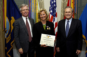 Department of Defense Medal for Distinguished Public Service - Image: Rumsfeld Vollebæk Devold Do D Medal for Distinguished Public Service 2006