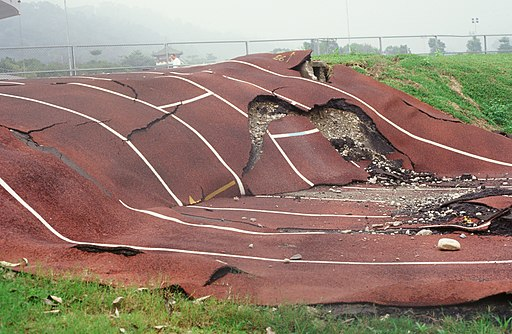Running track after 1999 Chichi earthquake in Taiwan