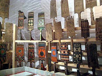 Distaff - Russian distaffs displayed at the museum of folk handicrafts at Ferapontov Monastery