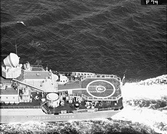 9K33 Osa - SA-N-4 launcher covered by a circular plate on the Slava class cruiser Marshal Ustinov.
