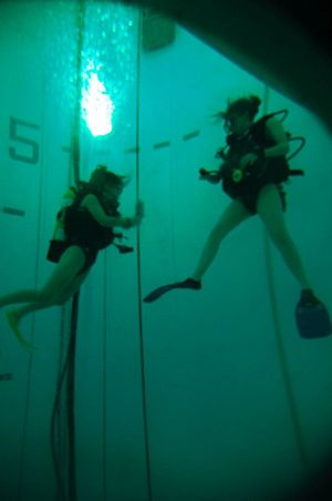 Submarine escape training facility - Divers in the SETT