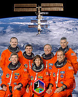 v. l. n. r. vorne: Stephen Frick, Ellen Ochoa, Michael Bloomfield; hinten: Steven Smith, Rex Walheim, Jerry Ross, Lee Morin