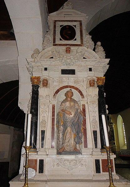 Autel et retable de Sainte-Barbe de l'église Saint-Martin de Saint-Martin-de-Connée (53).
