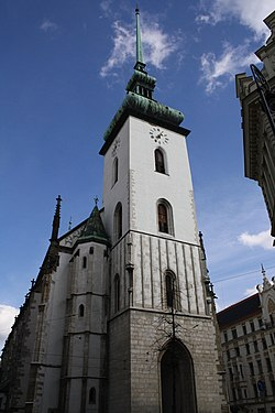 Saint Jacob church tower in Brno, Brno-City District.jpg