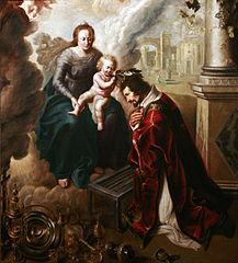 Saint Laurent couronné par l'Enfant Jésus