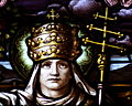 Saint Leo Catholic Church (Columbus, Ohio) - stained glass, loft, Pope St. Gregory the Great, detail.jpg