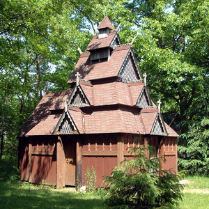 Steuben Township, Warren County, Indiana - Saint Swithuns Church, a replica stave church in the township