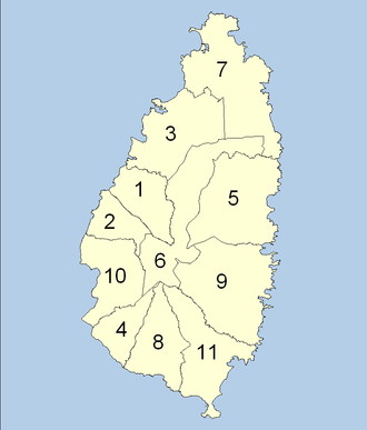 Quarters of Saint Lucia - The Districts of Saint Lucia as used by the Saint Lucia Government Statistics Department.