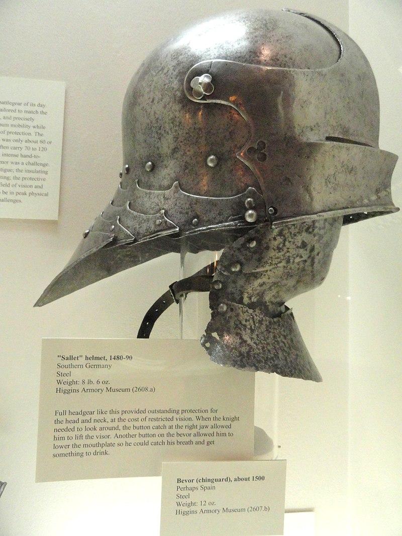 800px-Sallet_helmet%2C_Southern_Germany%2C_1480-1490_-_Higgins_Armory_Museum_-_DSC05461.JPG