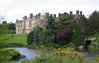 Sandringham House, Elizabeth's private residence in Norfolk Sandringham House garden.jpg