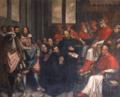 Santo Inácio de Loyola apresenta os estatutos da Companhia de Jesus ao Papa Paulo III (c. 1630) - Domingos da Cunha, o Cabrinha (Igreja de São Roque).png