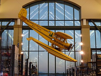 English: An airplane suspended in Scheels in S...