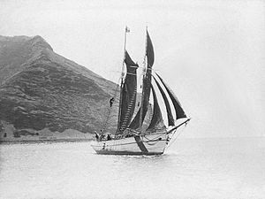 Mana Expedition to Easter Island - The Mana at Easter Island, 1914.