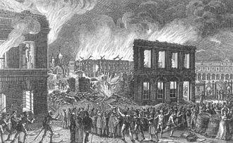 Brunswick Palace - Schlossbrand beim Aufstand 1830
