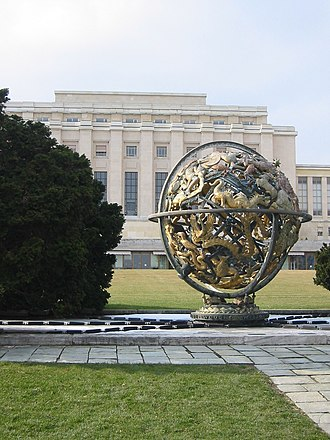 Palace of Nations - The armillary sphere presented to the United Nations by the Woodrow Wilson Foundation.