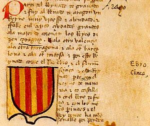 Coat of arms of the Crown of Aragon - Page of a manuscript of the Book of Knowledge of All Kingdoms (14th century) showing the coat of arms of Aragon.
