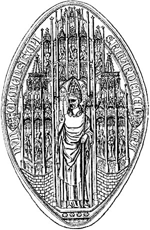 Richard de Bury - Bishop's seal of Richard de Bury, The Latin text reads Dunelmensis: epi. Ricardi: dei grat., of Durham: Bishop Richard: by the grace of God.