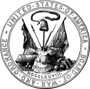 United States Department of War - The seal of the Board of War and Ordnance, which the U.S. War Department's seal is derived from.