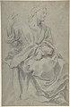 Seated Draped Male Figure (recto); Rough Studies of Putti (verso) MET DP801412.jpg