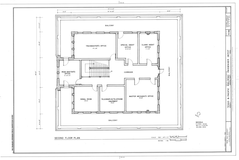 File second floor plan texas and pacific railroad for Railroad depot plans