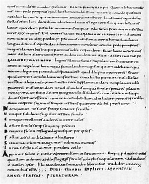 Apocolocyntosis - Apocolocyntosis, from a 9th century manuscript of the Abbey library of Saint Gall.