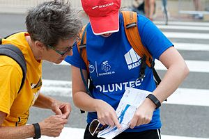 2015 UCI Road World Championships - Volunteer helping during the event