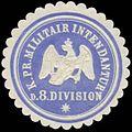 Siegelmarke K.Pr. Militair Intendantur der 8. Division W0338218.jpg