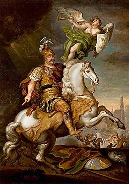 König Jan III. Sobieski bei Wien 1683 während der zweiten Belagerung Wiens durch die Türken, Gemälde von Jerzy Siemiginowski-Eleuter (1686). (Quelle: Wikimedia)