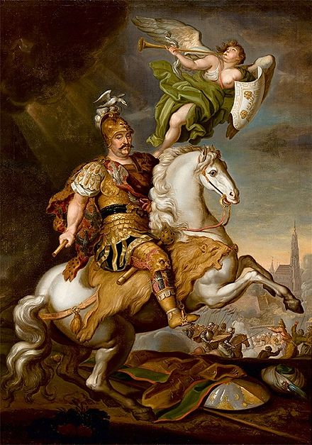 John III Sobieski, the victor of the Battle of Vienna. Siemiginowski Sobieski at the Battle of Vienna.jpg