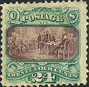 Declaration of Independence (Trumbull) - The painting was pictured on an 1869 United States 24-cent definitive postage stamp