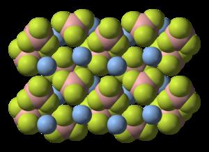 Silver tetrafluoroborate - Image: Silver tetrafluoroborate xtal 3D SF