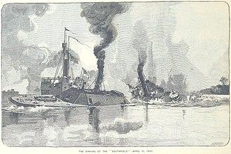 CSS Albemarle - Albemarles ram sinks Southfield
