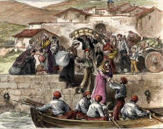 Carlism - Refugees fleeing through the port of Guetaria in the first war.