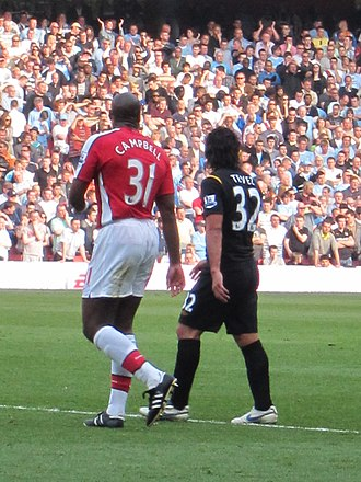 Sol Campbell - Campbell on his second spell at Arsenal in 2010 with Carlos Tevez.