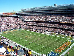 Soldier Field after its most recent renovation during a Bears home football game.