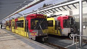 Charleroi Metro line 4 - A line 4 tram at its Soleimont terminus.