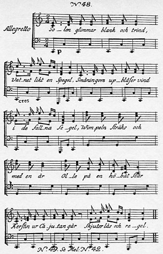 Solen glimmar blank och trind - First page of the 1790 sheet music for Carl Michael Bellman's Fredman's Epistle No. 48, Solen glimmar blank och trind