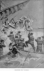 Somali warriors board British naval batilla