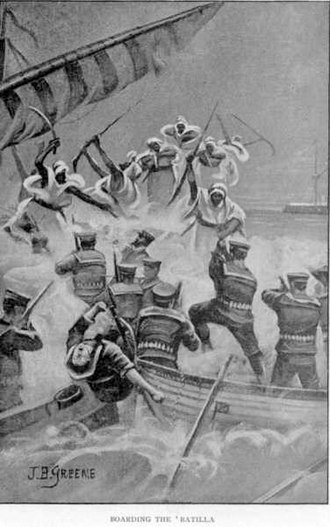 Mohammed Abdullah Hassan - Somali Dervish soldiers engage their British counterparts at sea.