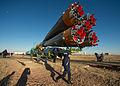 Soyuz TMA-10M spacecraft roll out by train (8).jpg
