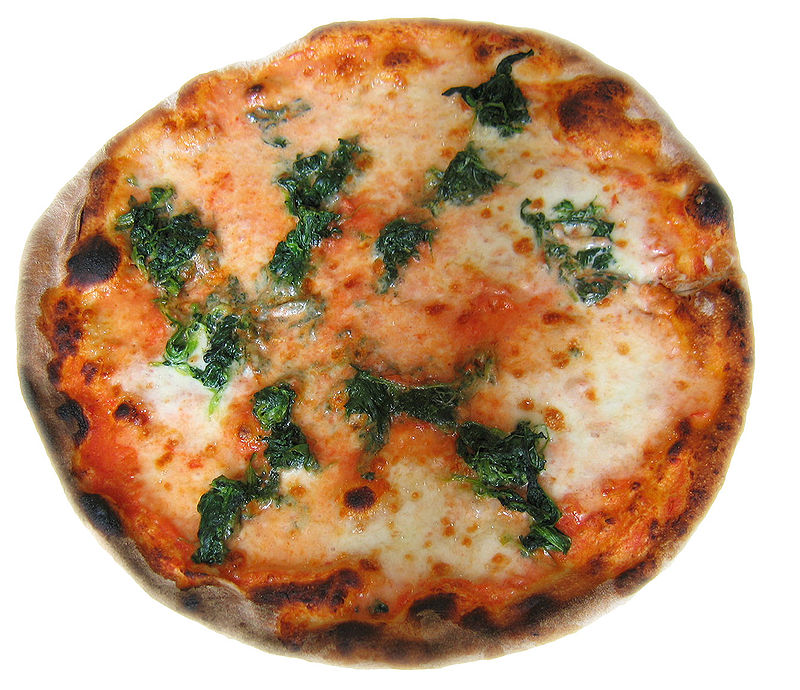 Spinach pizza, Turin, Italy
