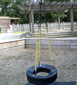 a rubber tire for swinging and spinning young ...